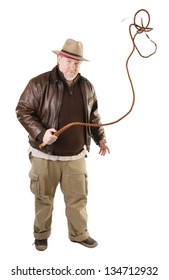 Adventurer is swinging with bull whip