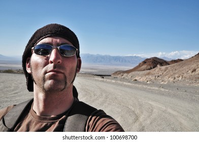 Adventurer visiting Death Valley, USA
