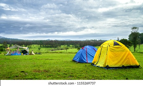 Adventures Camping tourism and tent under the view forest landscape outdoor in morning  at Thung salaeng Luang National Park , phetchabun, Thailand. Concept Travel