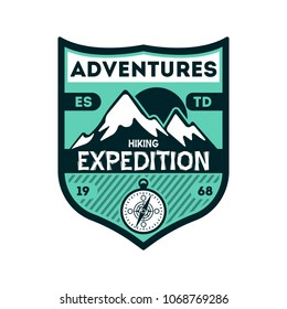 Adventures expedition vintage isolated badge. Outdoor hiking symbol, mountain and forest explorer, touristic extreme trip label illustration