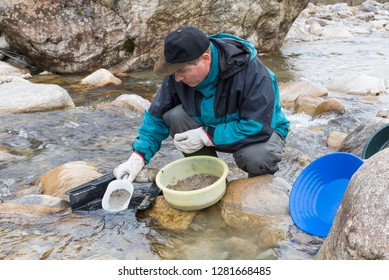 Adventures on the river. Modern alluvial gold prospector