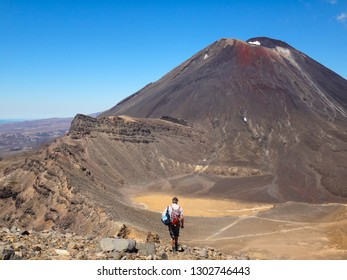 adventurous backpacker tourist man looking on volcanic landscape with Mount Ngauruhoe (Mount Doom) from popular hiking trail Tongariro Alpine Crossing,  Tongaririo National park, New Zealand