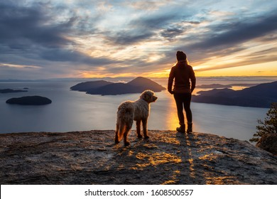 Adventurous Girl Hiking on top of a Mountain with a dog during a colorful sunset. Taken on Tunnel Bluffs Hike, near Vancouver and Squamish, British Columbia, Canada.