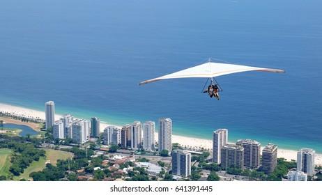 Adventurous hang gliding in Rio de Janeiro, Brazil
