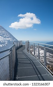 adventurous observing platform and trail with stunning views, tourist attraction nebelhorn mountain, allgau alps