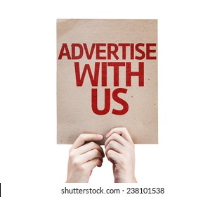 Advertise With Us card isolated on white background