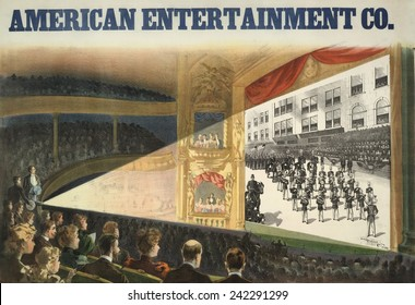 Advertisement of the American Entertainment Co. screening of an early motion picture in an opera house. Movies were introduced alongside live acts in theatrical venues such as vaudeville, ca. 1895.