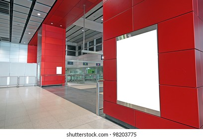 advertisement blank in a modern building