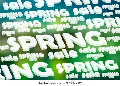 Advertisement notice about the spring sale on blurred background in a dark green color. Raster illustration
