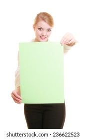 Advertisement. Young woman holding blank copy space green banner isolated on white. Businesswoman recommending your product