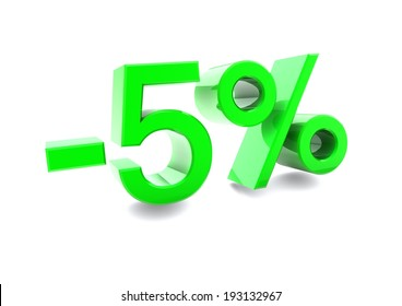 Advertising 5% discount sign. 3d render illustration.