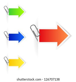 Advertising arrow-labels with paperclips. Raster version of the loaded vector.
