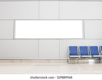 Advertising banner billboard in the airport with copy space