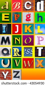 Advertising banner letter cutouts. Make your own words easily with this fix width alphabet