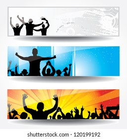 Advertising banner for sports championships and concerts. Raster version