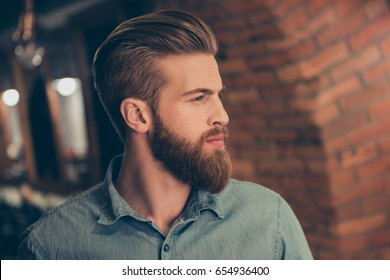 Advertising barbershop concept. Profile side portrait of harsh handsome red bearded young guy. He has a perfect stunning hairstyle, modern haircut