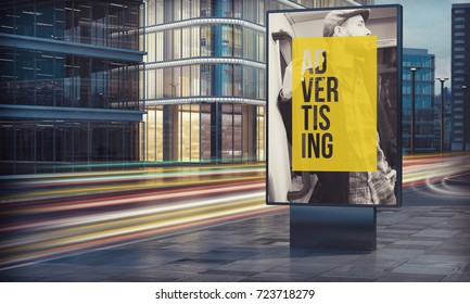Advertising billboard in city night 3d rendering