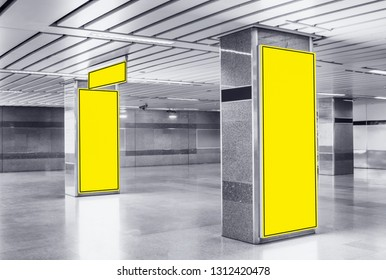 Advertising Billboard mockup panoramic and vertical,yellow light box showcase in subway,display empty space for text design message or media content,Commercial concept business and advertise media