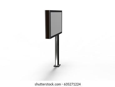 advertising billboard on white background  3D illustration,3D rendering