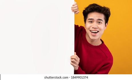 Advertising Billboard. Portrait of smiling asian guy hiding behind blank white poster with mockup template and copy space for logo, design or message. Male teen peeking out, orange studio wall