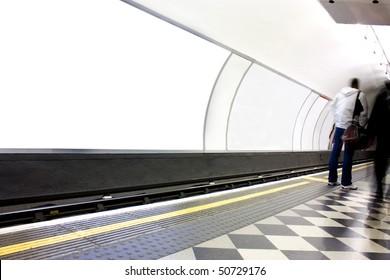 advertising blank poster site or billboard on london underground