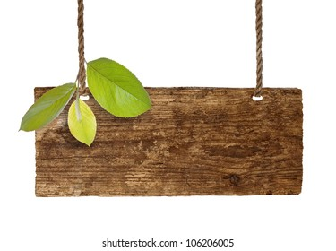 Advertising board on thread with green leaves on white