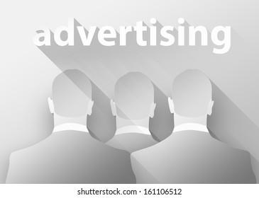 Advertising in business, 3d illustration flat design