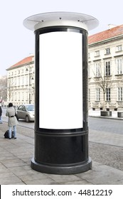 Advertising column located in old town.