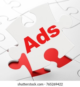 Advertising concept: Ads on White puzzle pieces background, 3D rendering