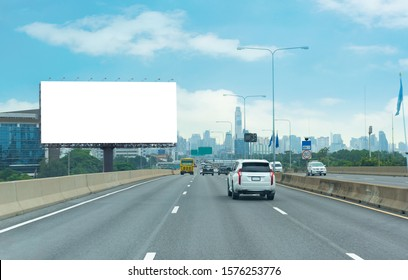 Advertising concept, Blank template  for outdoor advertising or blank billboard on the highway in city. With clipping path on screen - can be used for trade shows, promotional poster.