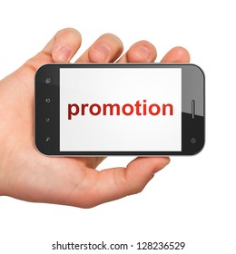 Advertising concept: hand holding smartphone with word Promotion on display. Generic mobile smart phone in hand on White background.