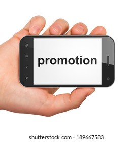 Advertising concept: hand holding smartphone with word Promotion on display. Mobile smart phone on White background, 3d render