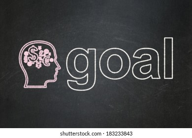 Advertising concept: Head With Finance Symbol icon and text Goal on Black chalkboard background, 3d render