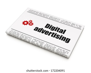 Advertising concept: newspaper headline Digital Advertising and Gears icon on White background, 3d render