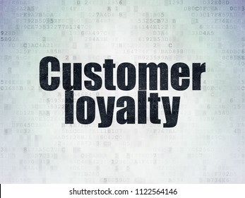 Advertising concept: Painted black word Customer Loyalty on Digital Data Paper background