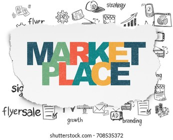 Advertising concept: Painted multicolor text Marketplace on Torn Paper background with  Hand Drawn Marketing Icons