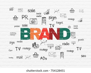 Advertising concept: Painted multicolor text Brand on White Brick wall background with  Hand Drawn Marketing Icons