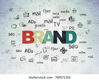 Advertising concept: Painted multicolor text Brand on Digital Data Paper background with  Hand Drawn Marketing Icons