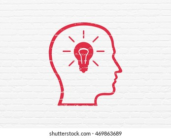 Advertising concept: Painted red Head With Lightbulb icon on White Brick wall background
