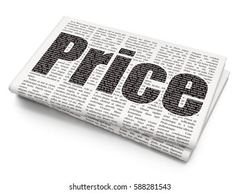 Advertising concept: Pixelated black text Price on Newspaper background, 3D rendering