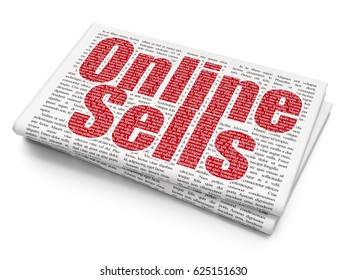 Advertising concept: Pixelated red text Online Sells on Newspaper background, 3D rendering