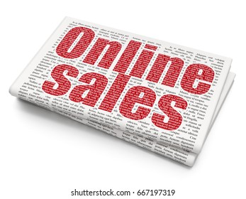 Advertising concept: Pixelated red text Online Sales on Newspaper background, 3D rendering