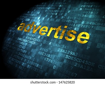 Advertising concept: pixelated words Advertise on digital background, 3d render