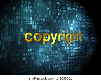 Advertising concept: pixelated words Copyright on digital background, 3d render