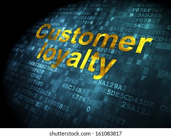 Advertising concept: pixelated words Customer Loyalty on digital background, 3d render
