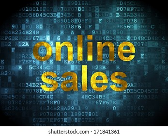 Advertising concept: pixelated words Online Sales on digital background, 3d render