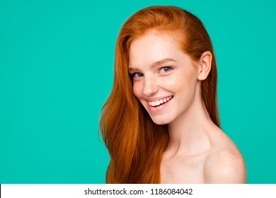 Advertising concept. Profile side close-up portrait of nice cute nude sweet adorable red-haired girl with shiny pure clean fresh smooth skin and healthy hair, isolated over green turquoise background