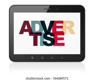 Advertising concept: Tablet Computer with Painted multicolor text Advertise on display, 3D rendering