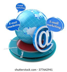 Advertising concept: word E-mail Marketing in speech bubbles in the design of information related to internet