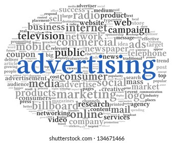 Advertising concept in word tag cloud on white